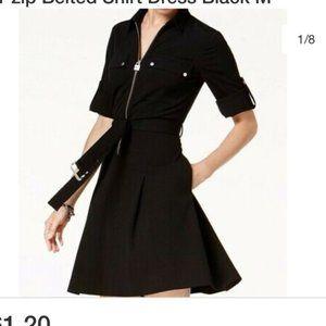 Black long sleeve zip up dress belted
